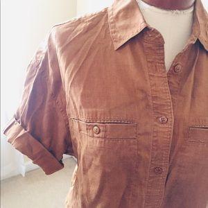 Rust 100% linen button up!
